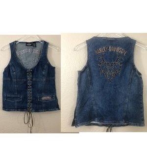 Vintage Harley Davidson Lace Up Embroidered Vest